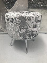 Showroom stock - Mid drum lustro mercury - silver glitter dressing table stool