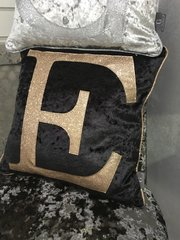 Beautiful Glitter alphabet cushion range - Black velvet / champaign gold glitter