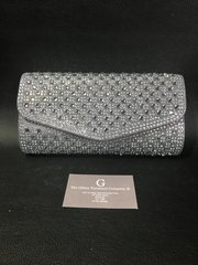 Stunning Alex Max® pewter crystal clutch bag/shoulder bag