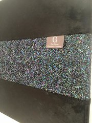 Luxury Black crushed velvet with stunning petrol glitter wall art Large