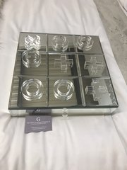 Mirror Noughts and crosses game set with storage drawer
