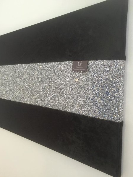 Glitter Wall Art luxury black crushed velvet with stunning silver glitter wall art