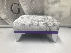 showroom stock - senso silver crushed velvet - purple glitter small footstool
