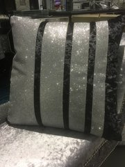 stunning black crushed velvet  with disco glitter barcode cushion