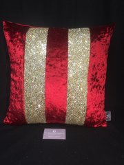 Stunning Ava scatter cushion red velvet with gold glitter
