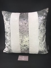 Ava silver crushed velvet - Opal glitter scatter cushion