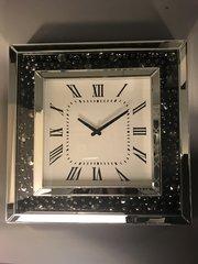 Stunning Mirror and black crystal wall clock 50cmx50cm