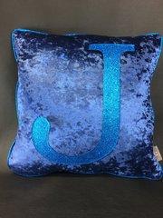 Stunning Midnight blue crushed velvet - blue glitter Alphabet scatter cushion