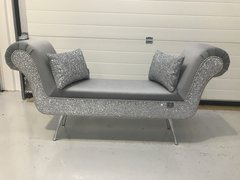 Stunning soft touch velvet & glitter double ended chaise - colour options