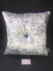 Stunning silver Senso - purple glitter pipe & large button scatter cushion