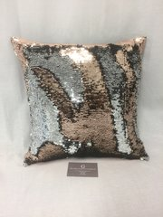 Beautiful sequin mermaid scatter cushion bronze - silver