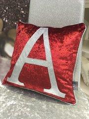 Beautiful Glitter Alphabet cushion range - Red velvet -Disco silver glitter