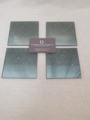 Set of 4 silver/disco glitter ombre coasters square design