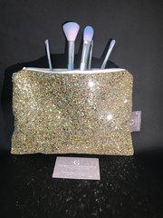 Stunning Gold glitter makeup bag -velvet lined