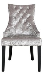 Silver crushed velvet dining chair with arms - button back detail and ringback finish