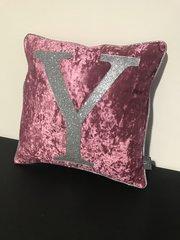 Stunning Alphabet lipstick pink crushed velvet - silver disco glitter scatter cushion