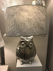 Silver Oval Owl Table Lamp With 10 Inch Silver Cobweb Shade