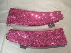 stunning Pink glitter with pink crushed velvet curtain tiebacks