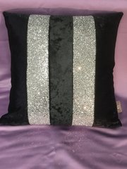 Stunning Ava black crushed velvet with silver glitter scatter cushion