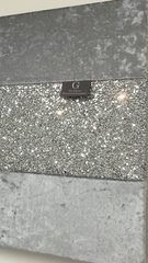 stunning gunmetal grey crushed velvet with silver glitter wall art - Medium