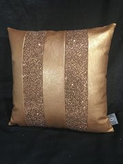 Stunning Ava Copper faux leather with copper glitter scatter cushion