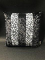 Stunning Ava Leopard glitter animal print black & white - Black crushed velvet cushion