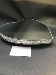 Beautiful Heart mirror & crystal candle plate/display plate - large