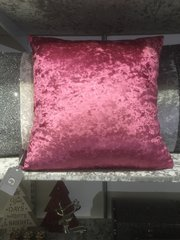 Beautiful lipstick pink plain crushed velvet scatter cushion