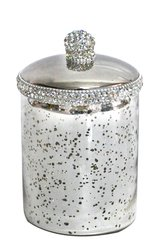 Sparkle antique silver glass jar with crystal detail - large