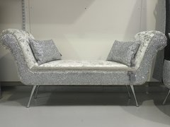 Stunning Double ended chaise/ bedroom seat silver glitter - silver velvet