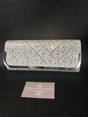 Stunning Alex Max® silver square diamond clutch bag/shoulder bag