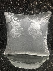 showroom stock - silver crushed velvet - silver disco glitter crown cushion