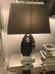 stunning black crystal and mirror table lamp with 20inch black shade