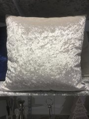 Pearl White plain velvet scatter cushion