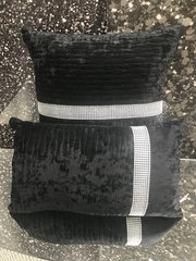 set of 2 black wave cushion with sparkle band detail