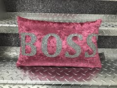 BOSS - lipstick pink crushed velvet - silver disco glitter cushion