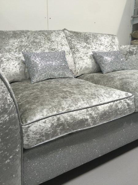 crushed velvet and silver disco glitter sofa the glitter furniture company. Black Bedroom Furniture Sets. Home Design Ideas