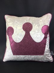 Stunning Princess Crown Pearl white crushed velvet and Pink glitter scatter cushion