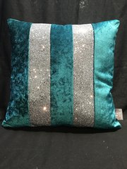 Stunning Ava boutique Kingfisher crushed velvet - silver glitter scatter cushion