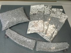 Stunning silver glitter bedroom set -Bed runner - Claira cushion - Glitter tiebacks
