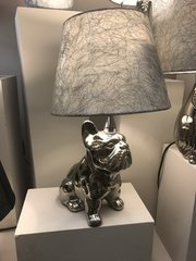 Silver French Bulldog Table Lamp With 8 Inch Silver Cobweb Shade