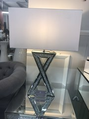 Beautiful X crystal crackle and mirror table lamp with white shade