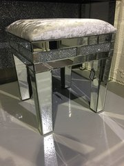 Beautiful crystal crackle mirror stool with crushed velvet upholstered top
