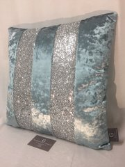 Stunning Ava Cambridge blue velvet with silver glitter scatter cushion