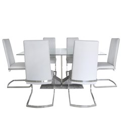 Stunning Jupiter light grey dining set - 6x chairs and dining table