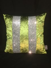 Stunning Ava Lime with silver crackle glitter scatter cushion