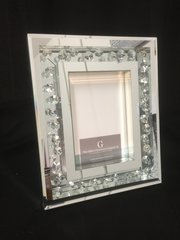 Stunning floating crystal and mirror photo frame 5x7