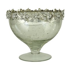 Sparkle antique silver collection - glass bowl with sparkle flower detail