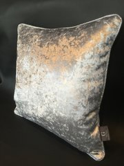 Stunning gunmetal grey crushed velvet with silver disco pipe scatter cushion