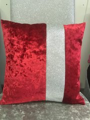 Beautiful Red velvet with disco glitter scatter cushion
